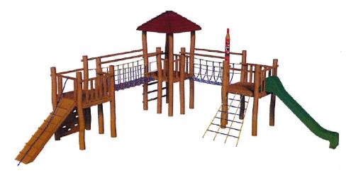 Structure de jeux avec toboggan au parc de jeu au Domaine de Déva à Bourail en Nouvelle-Caledonie.