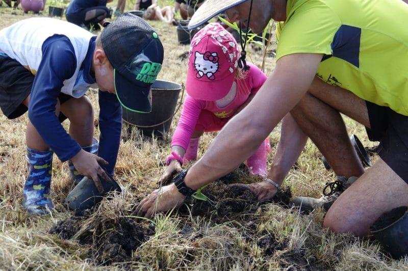Opération de reboisement, plantation participative pour la restauration de la forêt sèche Calédonienne au Domaine de Déva à Bourail avec l'Association Calédoclean.