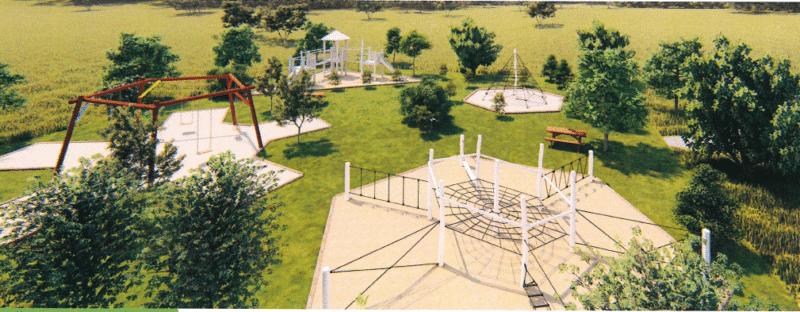 Le parc de jeux du Domaine de Deva a Bourail sera composé de 4 structures de jeux avec balancoires, tobogan et aires d'escalades pour tous les ages ainsi qu'un terran de pétanque.