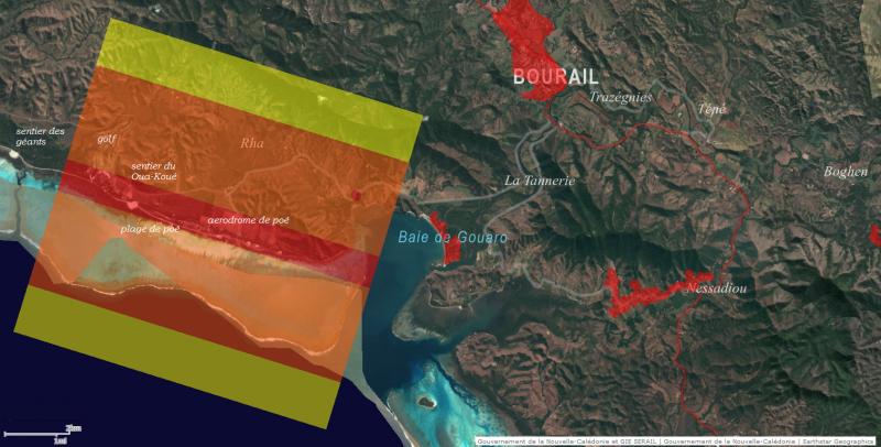 zones de survol réglementées pour les drones de loisir sur le Domaine de Déva et Bourail en Nouvelle-Calédonie