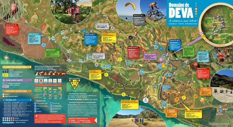 carte générale de l'ensemble des pistes vtt pédestre et equestre du Domaine de Déva à Bourail